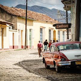 Cuba by Joe Adams - City,  Street & Park  Street Scenes ( cobble, cadillac, street, quaint, cuba )