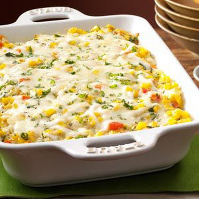 Basil Corn and Tomato Bake