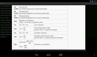 Screenshot of PM Formulas (for PMP® exam)pro