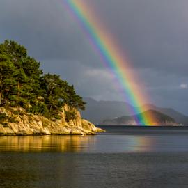 Treasure Island. Bergen, Norway. by Paulius Bruzdeilynas - Landscapes Weather ( clouds, bergen, water, rainy day, rainy, stone, rock, sun, norway, island, fjord, raining, norwegian, tree, sunny, cloudy, islands, weather, trees, norge, rainbow, rain,  )
