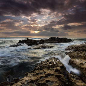 Turbulence by Bruce Meaker - Landscapes Sunsets & Sunrises ( sunrise seascape rocks waves clouds )