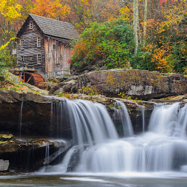 Grist Mill and Waterfall by Ed Shanahan - Buildings & Architecture Public & Historical ( new river gorge bridge, fall leaves, improve photography, babcock state park, fall, color, colorful, nature )