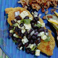 Chicken Breasts With Cornmeal Crust and Black Bean Salsa