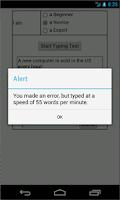 Screenshot of Typing Speed Testing