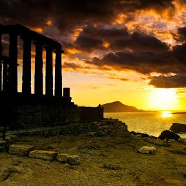Temple of Poseidon by Mike O'Connor - Landscapes Sunsets & Sunrises ( cape sounion, temple of poseidon, sunset, greece, columns,  )
