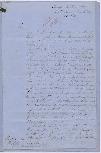 "Captain Charles Pasley, new to Ballarat, analyses the military and political situation at Ballarat on 29 November 1854.<a href=""http://wiki.prov.vic.gov.au/index.php/Eureka_Stockade:Captain_Pasley%27s_Report"">Click here to see more of this record n our wiki.</a>   Pasley describes the movement of troops and the meetings of diggers from afar; he argues that 'some steps should be taken to bring the matter to a crisis' and recommends a course of brinkmanship by sending out licence hunters backed by a display of military force."