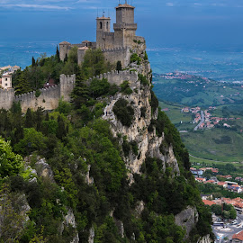Castle in the Air by Sean Heatley - Buildings & Architecture Public & Historical ( clouds, mountain, sky, san marino, trees, castle, italy, rugged, turret )