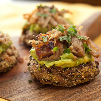 Mini Black Bean Cakes with Carnitas and Avocado