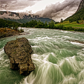 After the Rains by John Phielix - Landscapes Waterscapes ( currents, water, clouds, hills, rocks, river )