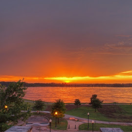 Firelight by Ajit Pillai - City,  Street & Park  City Parks ( park, sunset, glow, mississippi, river,  )
