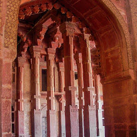Pillars by Hariprasad Bobhate - Buildings & Architecture Architectural Detail ( indoor, passage, corridor, door, agra, fatehpur sikri, architecture, pillars,  )