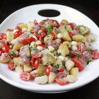 Tomato & Mozzarella Potato Salad with Lemon-Buttermilk Dressing