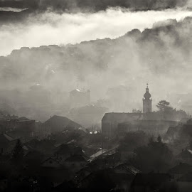 Morning games by Dejan Ilijic - City,  Street & Park  Vistas ( church, fog, morning, city, autamn )
