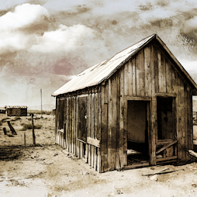 Life ,interupted by Dennis Ducilla - Black & White Buildings & Architecture ( clouds, building, sepia, old, nevada, western, house, rendered, west, abandoned )