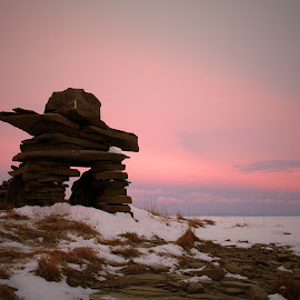Winter Rock Statue by Kelly Roberts - Landscapes Mountains & Hills ( rock statue sunrise winter frozen )