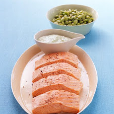 Poached Salmon with Lima Beans and Green Goddess Dressing