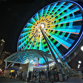Seattle Great Wheel by Peter Cheung - City,  Street & Park  Night ( skyline, colorful, seattle, great wheel, night, waterfront, Urban, City, Lifestyle )