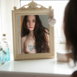 Klyxi sees herself in her bathroom mirror by Ian Cartwright - Nudes & Boudoir Boudoir ( mirror, reflection, topless, woman, naked, liberated ladies, tattoo, bathroom )