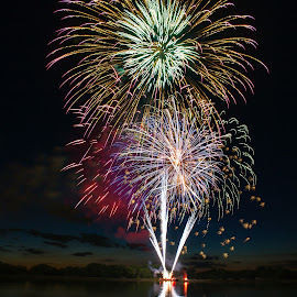 Sunset Finale by Tyler Hofelich - Abstract Fire & Fireworks ( ohio, fireworks, night, long exposure )