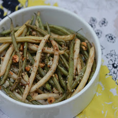 Garlicky Oven-Roasted Green Bean Salad With Hazelnuts and Blue Cheese