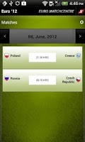 Screenshot of Euro '12 MatchCentre