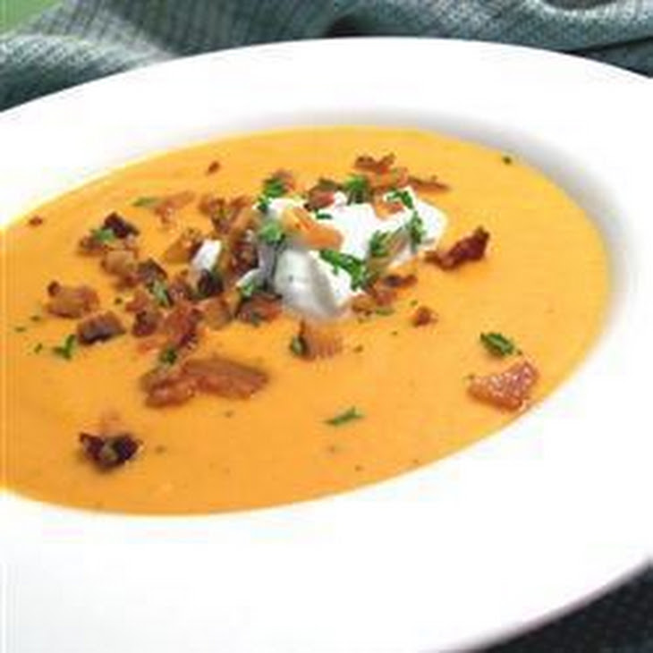 Velvety Pumpkin Soup With Blue Cheese and Bacon Recipe | Yummly