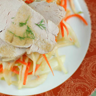 Cider-Braised Pork Tenderloin with Fennel, Carrot, and Apple Slaw