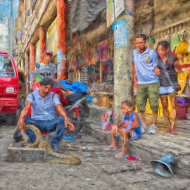 The Crowd Pleaser by Ferdinand Ludo - Digital Art People ( snake charmer, downtown, streets and candids )