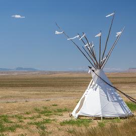 Big Sky by James Hess - Landscapes Prairies, Meadows & Fields ( big sky, teepee, montana, sioux, plains )