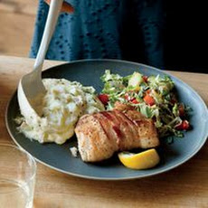 Bacon-Wrapped Halibut with Shredded Brussels Sprouts and Mashed Potatoes