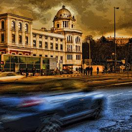 WINTER... by Luis Orchevecs Ferenczi - City,  Street & Park  Street Scenes ( blue, orange. color )