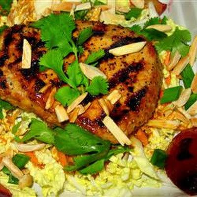 Grilled Adobo Pork Tenderloin Salad With Plums and Almonds