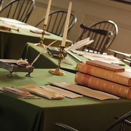 Independence Hall by Steve-and Duda - Novices Only Objects & Still Life ( independence hall, books, old, candles, table, quill, antique )