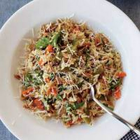 Spring Rice Pilaf with Vegetables, Arugula and Cheese