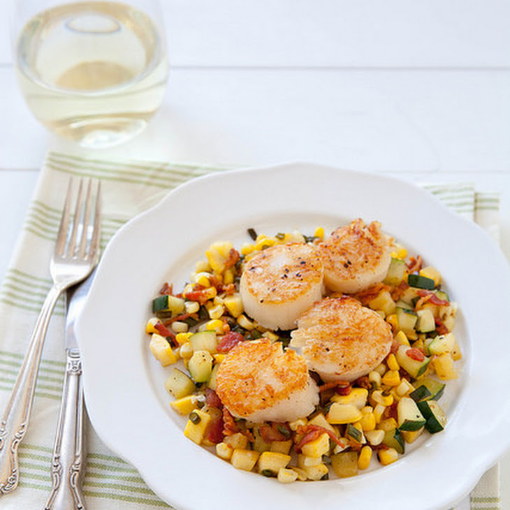 Seared Scallops with Summer Veggie and Bacon Hash Recipe | Yummly