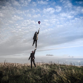 Floating away by Toby Lidstone - Novices Only Portraits & People ( floating balloon cliff devon )