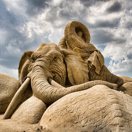 Mother & Son by Huub Keulers - Nature Up Close Sand ( clouds, sculpture, sand, elephant )