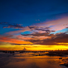 Karnafuly River by Aktarul Islam - Landscapes Travel ( water, bangladesh, sky, waterscape, sunset, chittagong, sun, river )