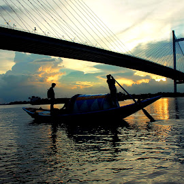 Evening Relaxation by Santanu Dutta - Buildings & Architecture Bridges & Suspended Structures ( water, bride, boat, people )