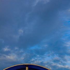 Curve by Ranga Muwanwella - Abstract Patterns ( #blue, #curved, #metalcurve, #bluesky )