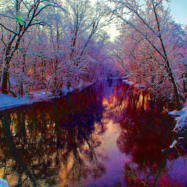 by Mark Silvani - Digital Art Places ( water, winter, snow, creek, reflections )