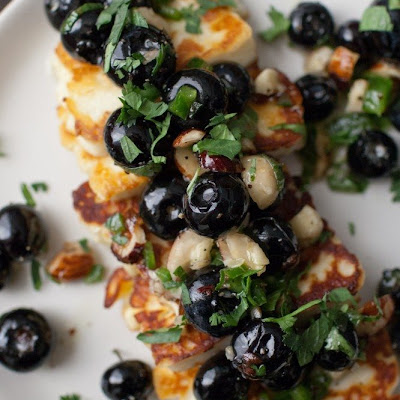 Grilled Halloumi with Blueberries and Herbs