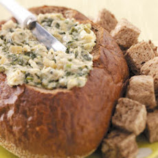 Artichoke Spinach Dip in a Bread Bowl