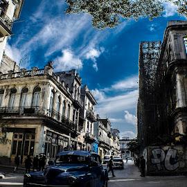 Habana in Blue by Enrique Santana Carballo - City,  Street & Park  Street Scenes ( hdr, historic district, street scene, havana, street photography )