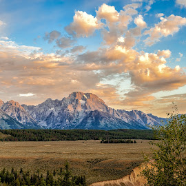 by Brent Clark - Landscapes Mountains & Hills ( mt. moran, mountain, sunrise, landscape, teton )