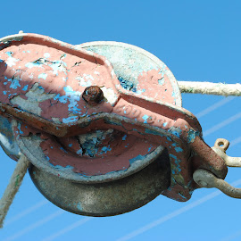 pulley by Prentiss Findlay - Artistic Objects Other Objects ( pulleyandrope, pulley, shrimp boat, shrimp boat dock, rope pulley )