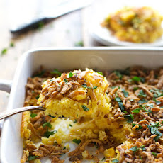 Creamy Corn Pudding with Crispy Onions and Herbs