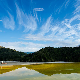 toxic beauty by Chiorean Marius - Landscapes Cloud Formations ( clouds, reflection, sky, church, blue, toxic, white, cloud, miror, forest, lake, landscape )