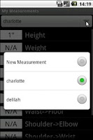 Screenshot of MyMeasurements
