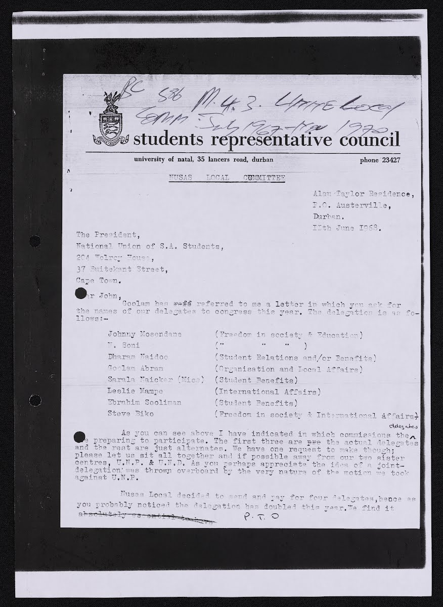 Correspondence designating Biko as an SRC delegate at the annual NUSAS Conference